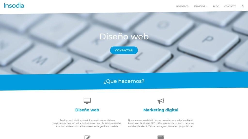 Captura de pantalla de la página web principal de Insodia