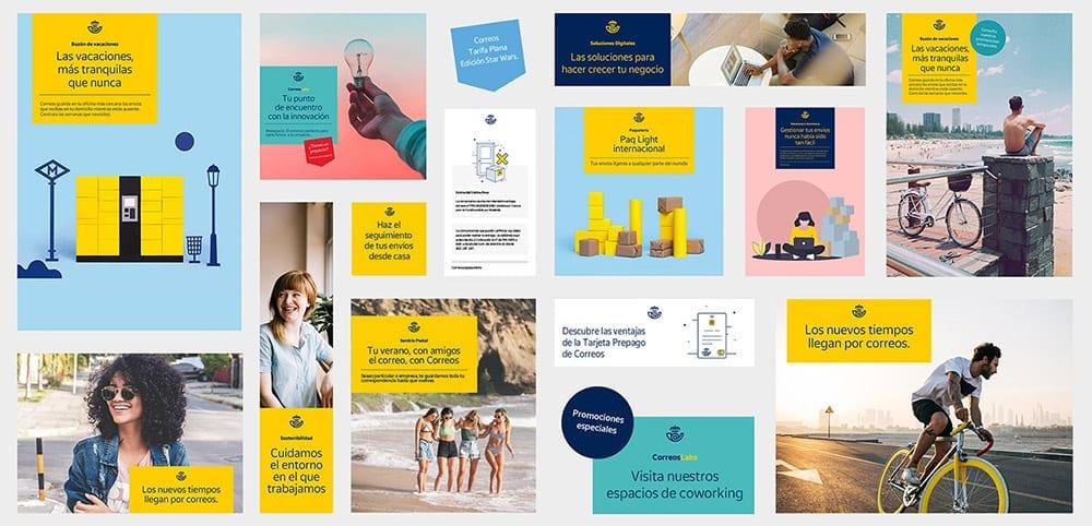 Ejemplos de uso de la nueva etiqueta de Correos en distintos elementos publicitarios.