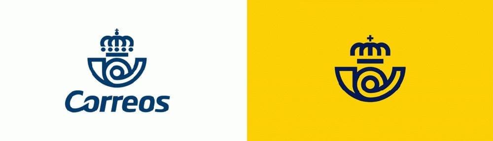 Comparación del nuevo logotipo de Correos con el anterior.