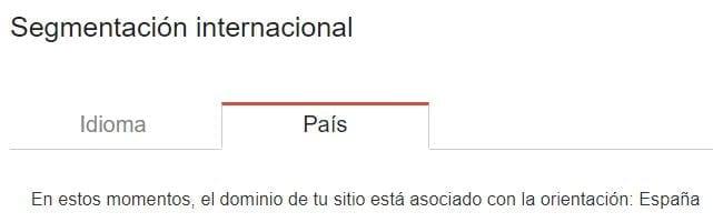 Segmentación internacional de Google para un dominio, bloqueada para un país específico.